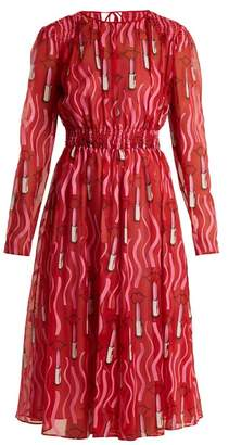 Valentino Lipstick Print Silk Georgette Dress - Womens - Red Print