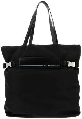 Prada Handbag Large Etiquette Bag In Nylon And Leather With Double Handles And Side Buckles