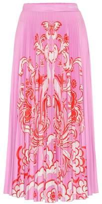 Valentino Printed pleated midi skirt