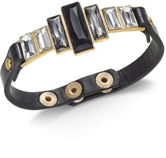 Thalia Sodi Gold-Tone Crystal & Faux Leather Snap Bracelet, Created for Macy's