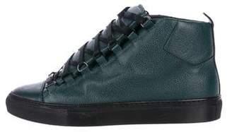 Balenciaga Pebbled Leather Arena Sneakers