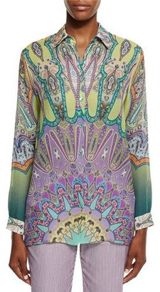 Etro Long-Sleeve Printed Silk Tunic, Green/Lilac $760 thestylecure.com