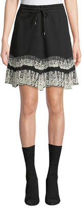 McQ Flared Drawstring Short Skirt with Lace Trim