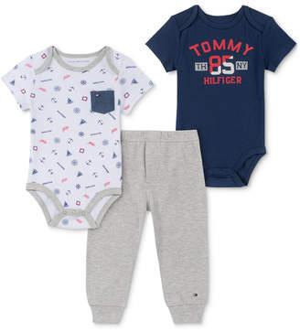 aeed2fb22a17 Tommy Hilfiger Baby Boys 3-Pc. Logo-Print Bodysuits   Pants Set