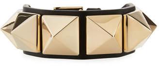 Valentino Rockstud Leather Cuff Bracelet, Black