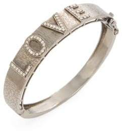 Silver & Champagne Diamond Love Bangle Bracelet