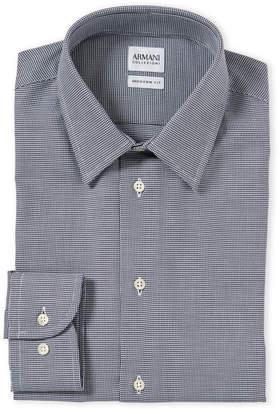 Armani Collezioni Black & White Modern Fit Houndstooth Dress Shirt