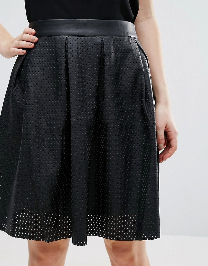 lavand perforated faux leather skirt shopstyle co uk
