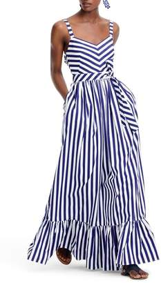 J.Crew J. CREW Stripe Ruffle Maxi Dress