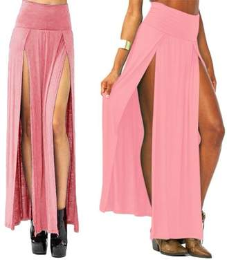 OCDAY Sexy High Waisted Double Slit Split Skirt Open Leg Long Maxi Skirt Dress