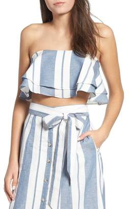 WAYF Maya Strapless Ruffle Crop Top