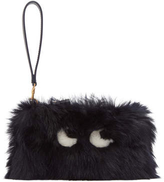 Anya Hindmarch Black Shearling Creeper Clutch