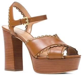 MICHAEL Michael Kors Women's Jessie Scalloped Leather Platform Block Heel Sandals