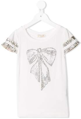 MonnaLisa metallic frill sleeve bow T-shirt