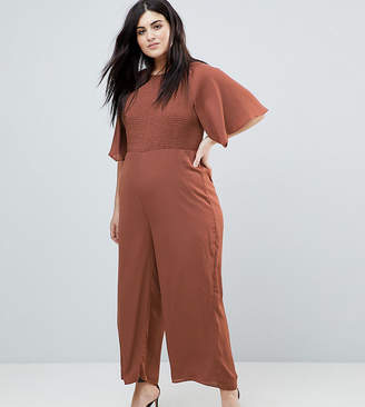Fashion Union Plus Jumpsuit With Kimono Sleeves And Shirring Panel
