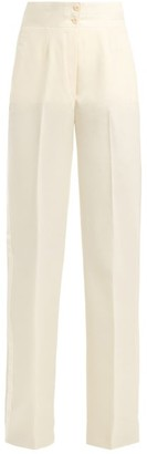 Giuliva Heritage Collection Dorothea High Rise Wool Twill Smoking Trousers - Womens - Ivory