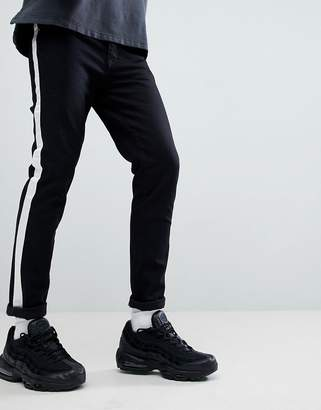 Criminal Damage Skinny Jeans In Black With Taping