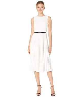 Calvin Klein Logo Belt Pleated Dress
