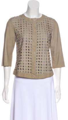 Armani Collezioni Laser Cut Leather Jacket