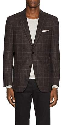 Pal Zileri MEN'S CHECKED WOOL TWO-BUTTON SPORTCOAT - PURPLE SIZE 48 R