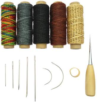 Dolity 14Pcs LeatherCraft Tool Kits Hand Sewing Thread Spools Awl Tool Set for Upholstery Shoes Luggage Repair