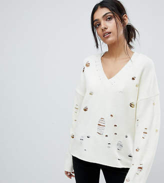 Asos Tall Jumper With V-Neck And Rolled Edges
