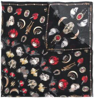 Alexander McQueen gothic icon print scarf