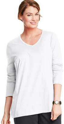 Just My Size Plus Size Long Sleeve V-Neck Tee
