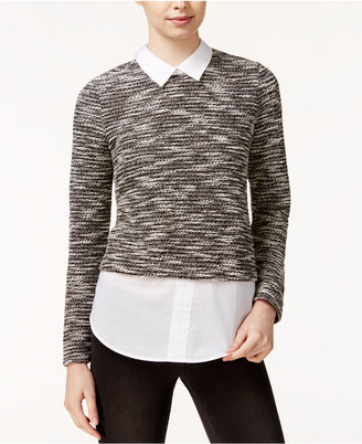 Maison Jules Contrast Sweater Shirt, Only at Macy's $59.50 thestylecure.com