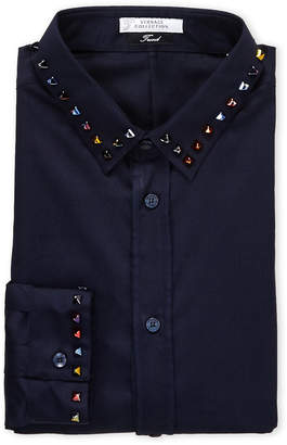 Versace Dark Blue Studded Trend Fit Dress Shirt