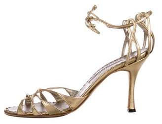Manolo Blahnik Metallic Wrap-Around Sandals