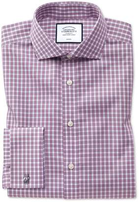Charles Tyrwhitt Slim Fit Non-Iron Twill Berry Gingham Cotton Dress Shirt Single Cuff Size 14.5/32