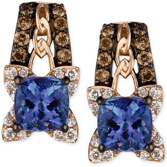 LeVian Le Vian Blueberry Tanzanite (9/10 ct. t.w.) and Diamond (3/8 ct. t.w.) Earrings in 14k Rose Gold, Created for Macy's