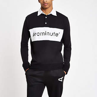 River Island Arcminute black logo long sleeve rugby shirt