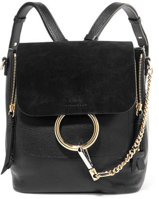 Chloé Faye Small Textured-leather And Suede Backpack - Black