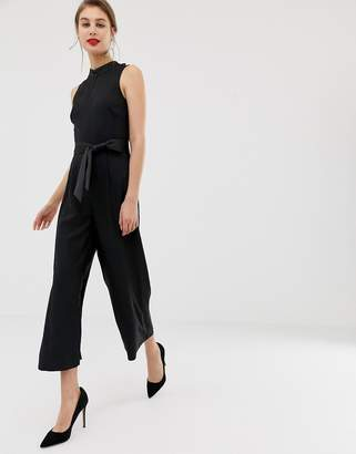Warehouse rhinestone jumpsuit in black