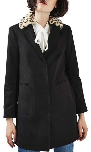 TopshopWomen's Topshop Faux Fur Collar Boyfriend Coat