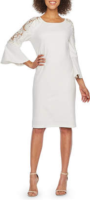 Ronni Nicole 3/4 Bell Applique Sleeve Sheath Dress