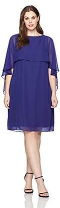 Tiana B Women's Plus Size Chiffon Capelet Dress