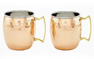Old Dutch Two-Ply Hammered Solid Copper/Stainless Steel Moscow Mule Mugs, 16 Oz., Set of 2