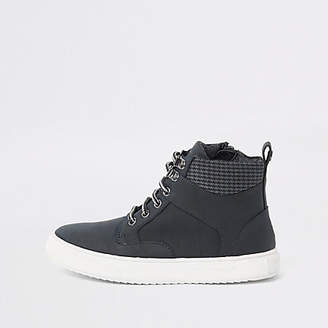 River Island Boys navy lace-up ankle boots