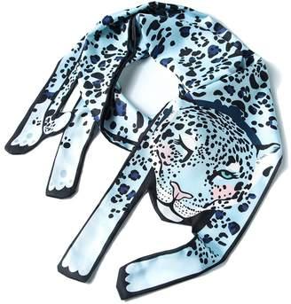 TaoYon Animal Printing Scarf Silk Lightweight Shawl Wrap Fun Leopard Scarves( Cat)