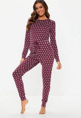 Missguided Burgundy Star Printed Loungewear Romper