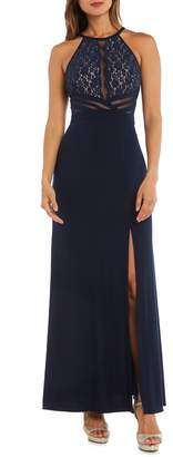 Morgan & Co. Lace & Illusion Mesh Bodice Gown