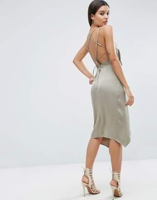 Asos Design Soft Drape Midi Dress With Strappy Back