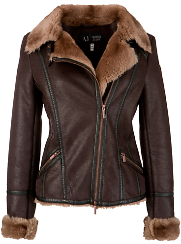 Armani Jeans Shearling Aviator Jacket, Chocolate