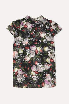 Erdem Clarence Ruffled Floral-print Fil Coupé Chiffon Blouse - Black