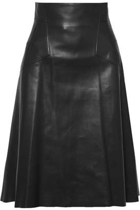 Alexander McQueen Leather Midi Skirt - Black