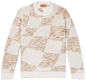 Missoni Slim-Fit Space-Dyed Double-Faced Intarsia-Knit Sweater - Men - Off-white