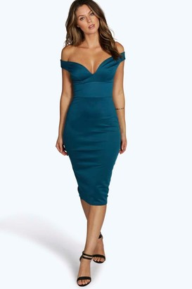 boohoo Skye Sweetheart Off Shoulder Bodycon Dress $30 thestylecure.com